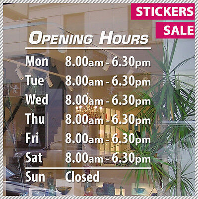 Custom OPENING TRADING HOURS Business Vinyl Lettering sticker decal shop sign