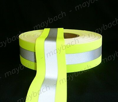 "Reflective Tape 2"" Sew-On lime yellow, fabric trim vest"