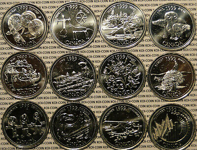 Brilliant Uncirculated 1999 Canada Millennium 12 Quarter 25 cent 25c Coin Set