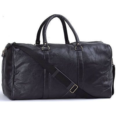 """Black 21"""" Hand-Sewn Leather Gym Duffle Bag, Travel Luggage Tote Carry-On Case"""