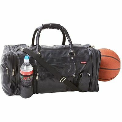 """Black Leather 22"""" Gym Duffle Bag, Men Travel Luggage Carry-On Tote Suitcase"""
