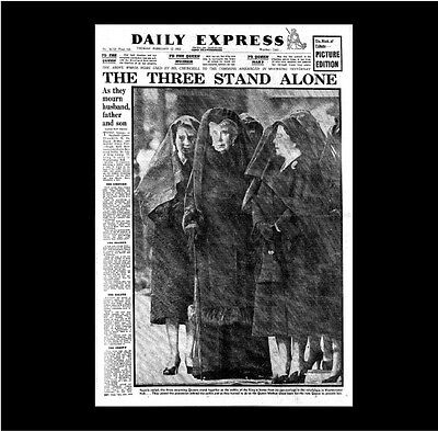 Dollshouse Miniature Newspaper - Daily Express 12 Nov 1952-Death of George VI