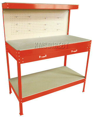 New Red Steel Tools Box Workbench Garage Workshop Table With Pegboard Drawers