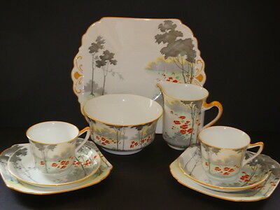 Shelley / Wileman Art Deco Doric Shaped Trees with Flowers Tea Set #11769