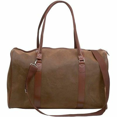 """Brown 21"""" Faux Leather Duffle Bag, Womens Travel Luggage Overnight Suitcase Tote"""