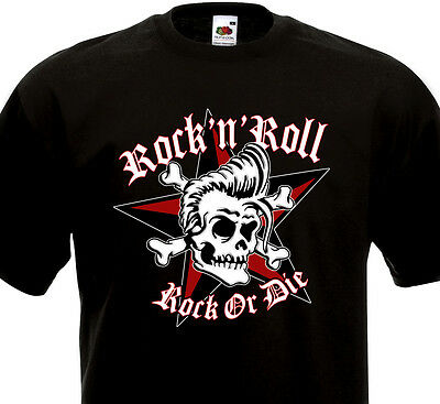 T-shirt ROCK'N'ROLL Rock or Die - Rockabilly Rocker SUN - Tête de mort et étoile