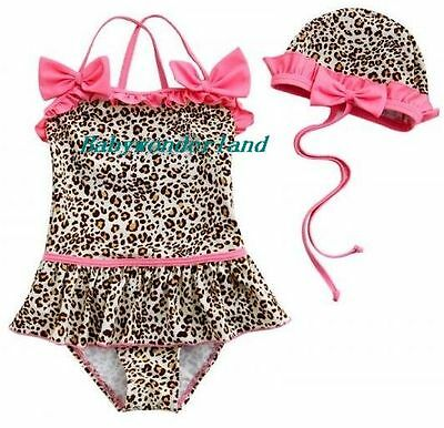 New Baby Girls Pink with Leopard Print Swimwear Swimsuit 2PC set Size 0,1,2,3,4