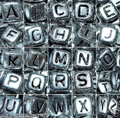 50/100 pcs 6mm silver cube single alphabet letter beads single and mixed letters