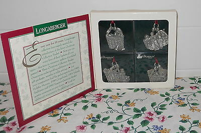 Longaberger Set Of 4 1996 Pewter Basket Ornaments New In The Box