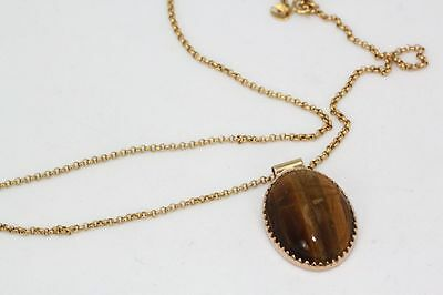 Vintage Unbranded 18K Golden Tigers Eye Scarab Pendant W/ Side Tubes Yellow Gold