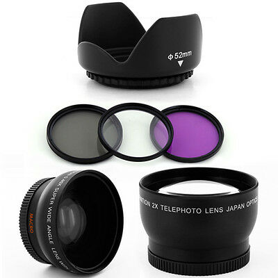 Wide Angle,Tele Lens Kit,UV-CPL FDL Filters,Hood for Canon 50mm f1.8 camera lens