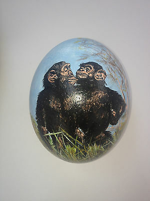 artist original Hand Painted chimp design Decorated Ostrich Egg.