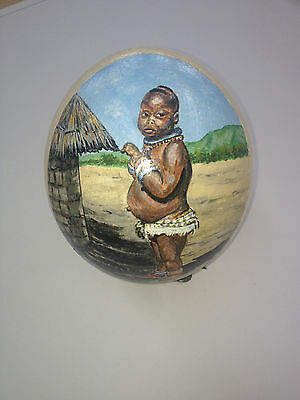 artist original Hand Painted african design Decorated Ostrich Egg.