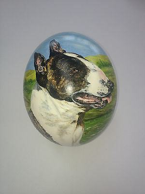artist original Hand Painted dog design Decorated Ostrich Egg.