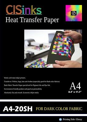 "20 Sheets Dark Fabric Inkjet Heat Transfer Paper A4 (8.27"" x 11.7"") For Cotton"