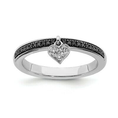 Sterling Silver Stackable 2.25mm Heart Ring with Diamonds Rhodium-plated QSK1064