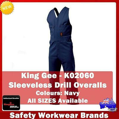 King Gee Sleeveless Cotton Drill Overall Industrial Workwear V-Neck New K02060