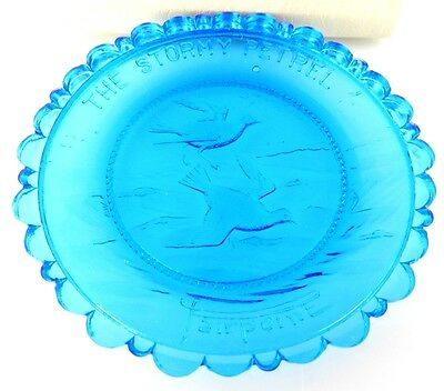 Pairpoint Blue Glass Cup Plate - Stormy Petrel
