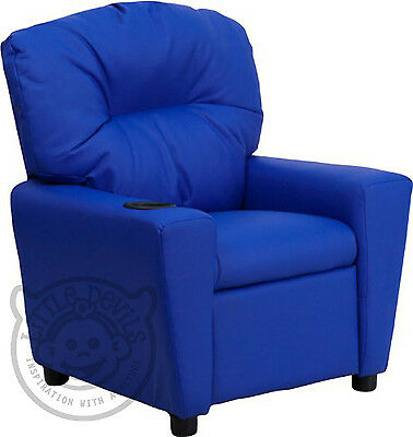 BLUE RECLINER KIDS/CHILDRENS ARMCHAIR/GAMES CHAIR/SOFA/SEAT in PU LEATHER LOOK
