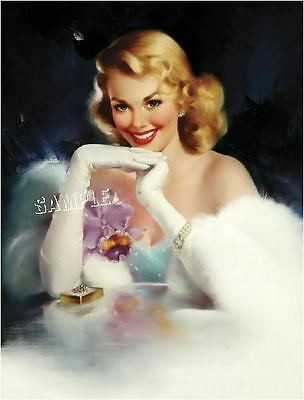 1930s VINTAGE PIN-UP GIRL ANTIQUE JEWELS ORCHID CORSAGE PROM CANVAS ART LARGE