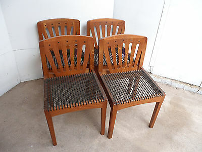 An Original Set of 4 Solid Oak Arts & Crafts Kitchen Chairs c1905