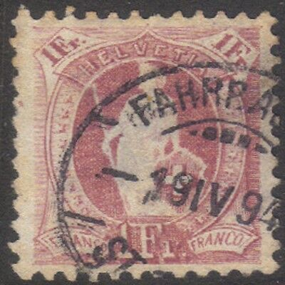 (SW22) 1882 Helvetia Franco 1 Frank Gold & Red ow60a