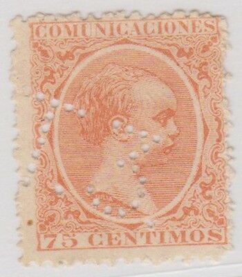 Stamp(SP35) 1889 Spain 75c Orange MNG ow285 T3 Perfed