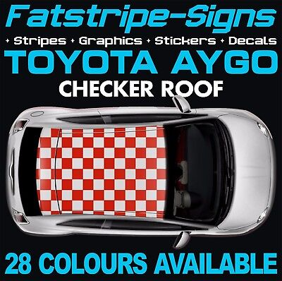 Toyota Aygo Checker Roof Graphics Stickers Stripes Decals Ab10 Ab40 Vvti 1.0 1.2