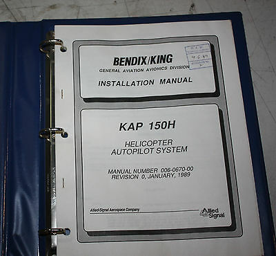 Bendix/King Helicopter Autopilot System KAP 150H Installation Manual