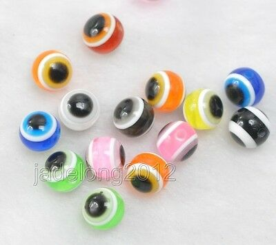 400pcs Mixed Colour Acrylic Evil Eye Ball Round Beads 6mm