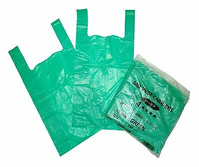 Extra Strong Vest Style Carrier Bags Green11x17x21 20Micron Select Qty