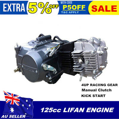 LIFAN 125cc 4UP Gears Manual Clutch Engine Motor Dirt Pit Bike Thumpstar Atomik