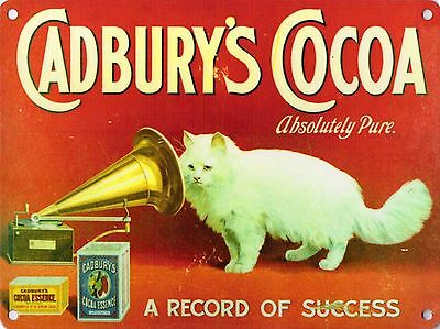 Cadbury's Cocoa, Gramophone Cat Cafe Kitchen or Restaurant, Small Metal/Tin Sign
