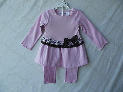 First Impressions Pink/Brown 2pc Long Sleeve Girl Outfit 6-9 Months NWT G82311