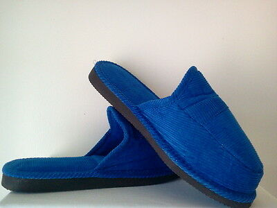 ROYAL BLUE CORDUROY HOUSE SHOES OPEN BACK SLIPPERS NEW SIZE 8 9 10 11 12 13 OPEN