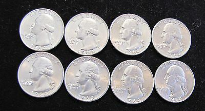 Lot of 8 1964-D Washington Silver Quarters