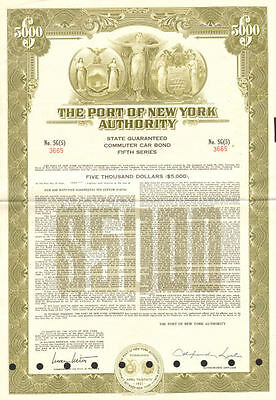 The Port of New York Authority $5,000 bond certificate