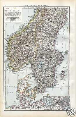 Antique 1895 Times Atlas Map of Southern Scandinavia Rare 1st Ed Folio