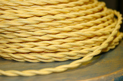 Yellow Twisted Cotton Cloth Covered Wire, Vintage Style Lamp Cord Antique Lights