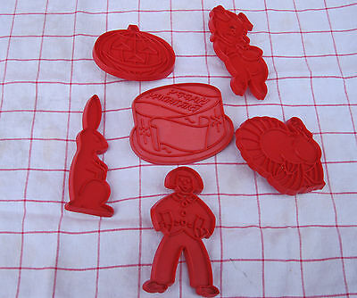 6 Pc Lot Vintage Red Cookie Cutters Gingerbread Man Birthday Cake Pig Rabbit✞