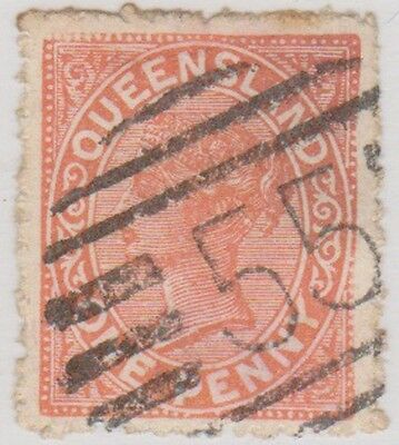 Stamp(Po28) 1879 QLD 1d Orange Post No.55 ow206