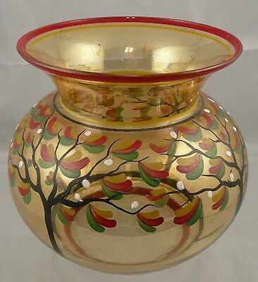 Mid Century Hand Painted Glass Vase, Czechoslovakia
