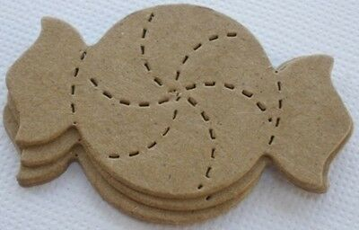 Bare Unfinished Chipboard Die Cuts CANDY PEPPERMINT TWIST 8