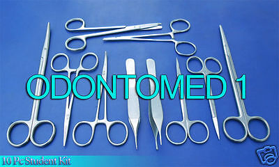10 Pc Student Suture Surgical Pack Set Kit Instruments