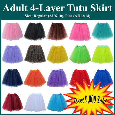 Adults Teens Girl Tutu Ballet Skirt 4 Layer Tulle Costume Fairy Party Hens Night