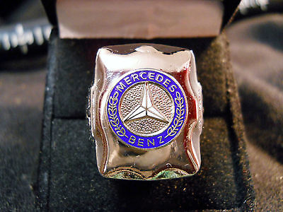 Classic 1920s Style MERCEDES BENZ THREE POINT LOGO Closionne Nickel Silver Ring