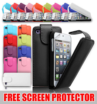 LEATHER FLIP CASE COVER FOR VARIOUS APPLE IPHONE IPOD FREE SCREEN PROTECTOR