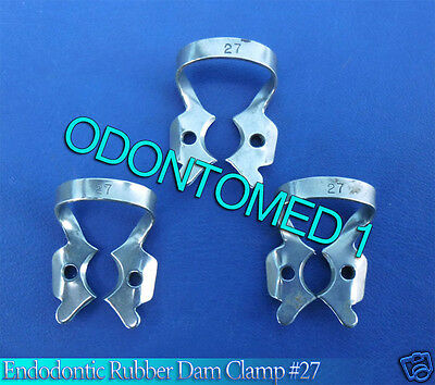 3 Endodontic Rubber Dam Clamp #27 Surgical Dental Instruments