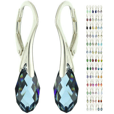 925 Sterling Silver Briolette Sapphire Crystal Leverback Earrings 30 Options