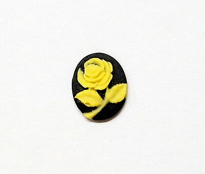 6 of 10x8 mm Yellow over Black Perfect Rose Cameos 4 Pendant, Charms, Earrings